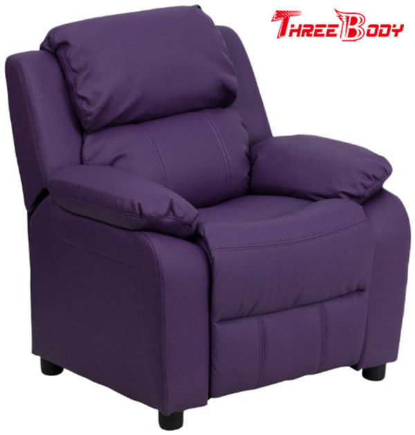 Comfortable Childrens Recliner Chair , Purple Vinyl Toddler Recliner Chair With Storage Arms